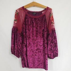 Crushed velour dark fuchsia embroidered tunic XL